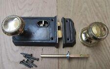 CAST IRON RIM LATCH & DOOR HANDLES SET -Vintage rustic old victorian period home