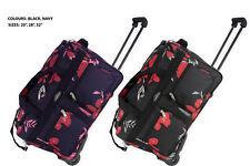 Lightweight Luggage Wheeled Trolley Holdall Duffle Bag Travel Bag 302-Printed