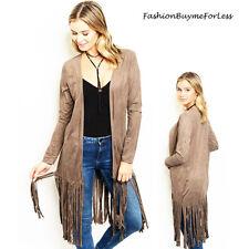 Boho Western Vintage Hippy Mocha Suede Fringe Long Sleeve Cardigan Jacket S M L
