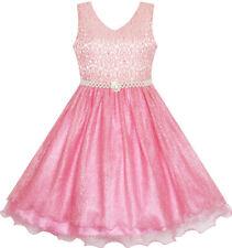 Flower Girl Dress Jeweled Pearl Sparkling Sash Shiny Wedding Size 3-14 Pageant