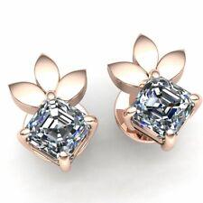 1.25ctw Princess Cut Diamond Ladies Flower Solitaire Stud Earrings 14K Gold