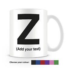 Helvetica lettera Z Tazza da caffè-può essere personalizzata-aggiungi il tuo nome - 6 COLORI