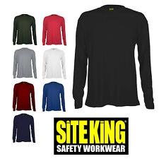 SITE KING Mens Long Sleeve Work T Shirt - QUALITY 200gsm 100% Cotton Shirts  315