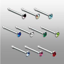 0,8mm Titan Nasen Piercing Stecker gerade mit Kristall Nose stud Nasenstecker