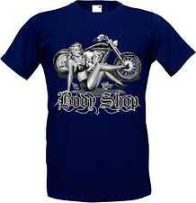 T Shirt in navyblau mit einem Biker-,Chopper-& Oldschoolmotiv Modell Body Shop