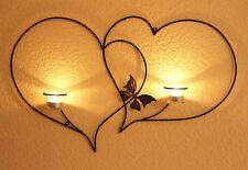 Doble Corazón Soporte de pared para velas té 65cm portavelas Metal Candelabro