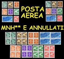 ITALIA REGNO 1930 1932 Posta Aerea Imperiale Singoli e quartine MNH**  Annullati