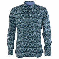 Maddox Street London Vintage Mens Shirt Blue Navy Paisley Print M36MW08 Retro