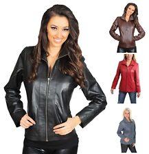 Womens Classic Biker Leather Jacket Ladies Zip Up Garment Black Brown Red Blue