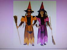 HEXENKOSTÜM mit Hut Pink od. Orange Halloween Hexe Kostüm Hexenhut 116-128-140