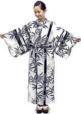 Women's Casual Cotton Yukata Robe Bamboo #766 Geisha Gown Unlined