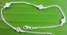 "MADE IN ITALY 925 Sterling Silver SHAMROCK 2mm curb BRACELET anklet 5.5""-10"""