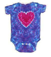 Baby Tie Dye Purple Heart Infant Creeper hippie Nb 6 12 18 24 month love art