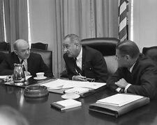 President Lyndon Johnson with Robert McNamara and Dean Rusk 1965 Photo Print