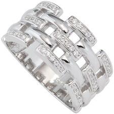Damen Ring breit 925 Sterling Silber rhodiniert mit Zirkonia Silberring NEU