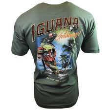 I-Guana Getaway Men's T-shirt -Newport Blue -Born To Chill-Heather Sage Green