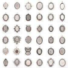 10pcs Antique Silver DIY Alloy Oval Tray Pendants Blank Bezel Cabochon Settings
