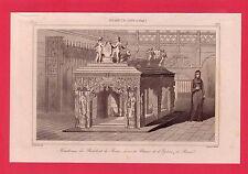 Tombeau de Philibert le Beau  dans l'église de Brou  GRAVURE 1845  FRANCE XVI