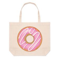 Pink Strawberry Glazed Doughnut Large Beach Tote Bag - Food Funny Shoulder