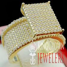 Wedding Ring Ladies 10K Yellow Gold Silver Simu Diamond Engagement Bridal Band