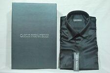 Uomo Camicia Carlo Pignatelli Elegante Nero scuro chemise Hemd Shirt рубашка