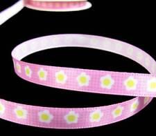 "3-5 Yds Disney Minnie Mouse Daisy Flower Pink Satin Ribbon 3/8""W"