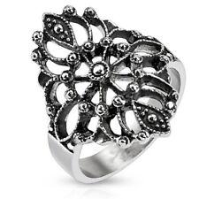 Ladies Filigree Ring - Sizes 6-10 New Wide Stainless Steel Vintage Look