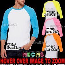 MENS NEON 3/4 Sleeve Baseball T-Shirt Jersey Canvas Team Sport XS-XL, 2XL NEW!