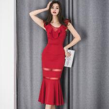 81560c07e49a Elegante abito vestito tubino morbido rosso trasparente comodo evento 5144
