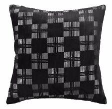 mq07a Silver Metallic Black Checker Shimmer Velvet Style Cushion Cover Case Szie