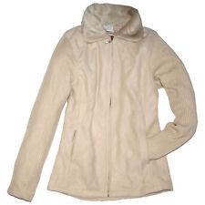 FLEECE JACKE Fleecejacke WEBPELZ KRAGEN Pullover beige Gr.36 38 S/M