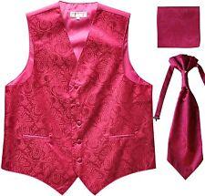 New Men's Paisley Tuxedo Vest Waistcoat & Ascot Cravat & Hankie Wedding Hot Pink