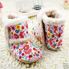 Infant Baby Girl Faux Fur Floral Shoe Boot Slippers  Crib Shoe Pre Walker