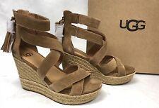 Ugg Australia Raquel Platform Espadrille Sandals Suede Tassels 1019895 Chestnut