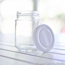 24 round 250ml glass jars - White / Gold / Black / Silver lids - 9.7cm