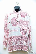 Hippie Om Hare Ram Krishna Yoga Meditation White Kurta Shirt Unisex Nepal M-XXL