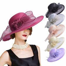 Womens Wide Brim Kentucky Derby Church Dress Wedding Party Formal Hat A435