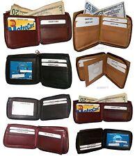 Zip around Man's Leather wallet 9 card, ID, 2 Billfolds wallet for men.New #86