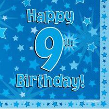 Joyeux 9th Fête d'anniversaire SERVIETTE ETOILE BLEUE 33cm Papier célébration
