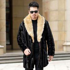 Mens Faux Fur Collar Jacket Mid Long Outwear Slim Fit Winter Warm Jacket Coat B2