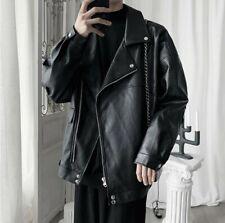 Spring Men Loose Fit Motorcycle Leather Jacket Outdoor Coat Outwear Zipper mt00