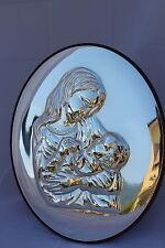 Madonna con bambino senza velo icona in argento 925/1000 sbalzata lucida