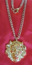 Elvis Style Gold Lion head Pendant