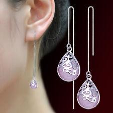 Womens 925 Sterling Silver Opal Trevi Fountain Long Ear Stud Chain/Link Earrings