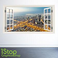 DUBAI WALL STICKER WINDOW FULL COLOUR - BEDROOM LOUNGE CITY SKYLINE W116