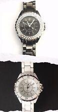 SINOBI Stylish Qyartz Watches Fancy Diamonds Gun Metal/Simple Plain White Design