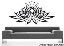 Lotus Flower Design Wall Art Vinyl Stickers Floral India Transfers Murals Decals