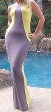 Maya Antonia-TALL- PLUS SIZE-Elegant Sexy Slimming Yellow-Grey Maxi Dress