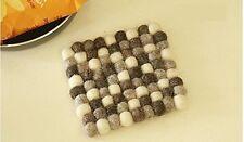 One Square Tea Mat Felt Ball Tea Coasters Wool Handmade Table cup mat