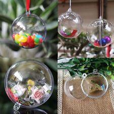 Clear Plastic Christmas Balls Baubles Sphere Fillable Xmas Tree Ornament DIY UK